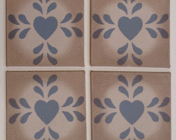"4"" x 4"" Painted Canvas Coaster - Folk Art Heart - Blueish Gray on Light Beige by Black Horse Floorcloths"