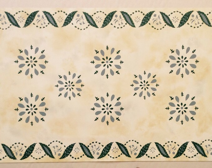 Custom Canvas Floorcloth - Green and Puritan Gray on Mottled Ivory - by Black Horse Floorcloths - Floor Cloth - Area Rug - Hand Painted