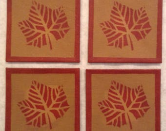 "Set of 4 - 4"" x 4"" Painted Canvas Coasters - Fall leaf - tea red (rust) and tan - by Black Horse Floorcloths"