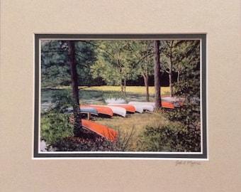 "Adventure Awaits print matted to 8""x 10"" Jodi L. Myers signed Mount Gretna PA canoes lake"