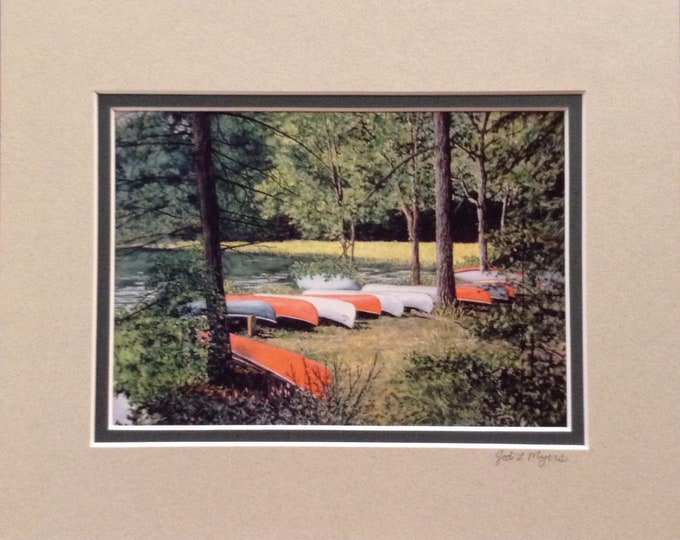 "Adventure Awaits print matted to 8""x 10"" Jodi L. Myers signed Mount Gretna PA canoes lake"