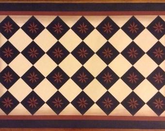 Custom Canvas Floorcloth - Primitive Diamond - Black and Tea (rust color) on Light Beige - by Black Horse Studio/Jodi Myers