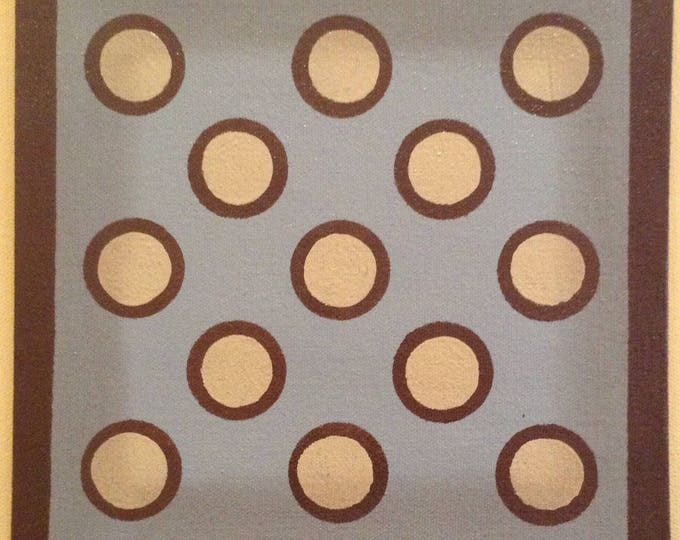 "Painted Canvas Trivet - 8"" x 8"" - cream and brown dots/circles on light blue - by Black Horse Floorcloths"