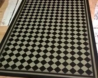 Custom Order Canvas Floorcloth - Mini Black Diamonds on Hampshire Gray (green-grey) - Choose your size!