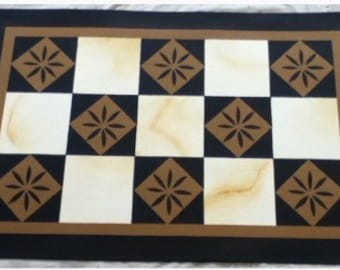 Custom Canvas Floorcloth - Colonial Carwitham Checks and Diamonds - Black and Graham Cracker on Marbled Cream - Area Rug