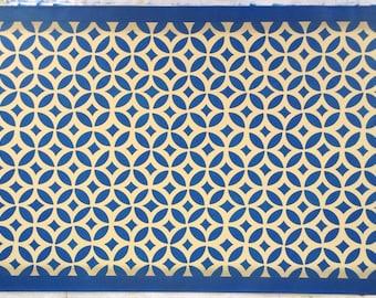 Custom Canvas Floorcloth - New England Design - Isaac Buck House - Blue and Yellow - Floor Cloth Area Rug - by Black Horse Studio/Jodi Myers