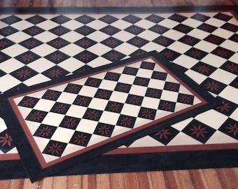 Custom Canvas Floorcloth - Colonial Primitive Diamond - Black and Tea (rust color) on Milky Way  (Creamy White) - by Black Horse Studio
