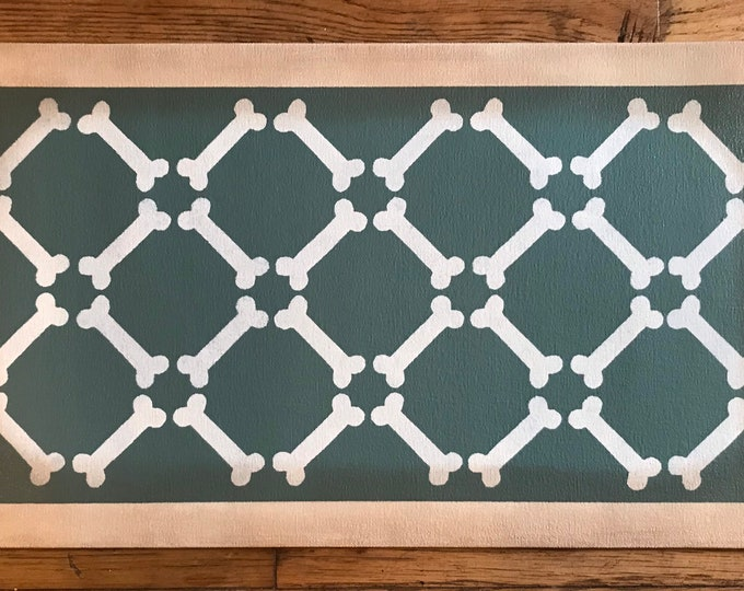"""Ready made! Dog Dish Mat Pet Placemat Small Floorcloth - 13"""" x 23"""" - by Black Horse Floorcloths - Dartsmouth Green and Ivory White"""