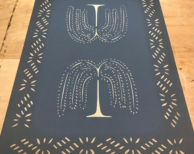 Custom Canvas Floorcloth Light Beige Willow Trees on Philipsburg Blue - Floor Cloth Area Rug - Custom Order by Black Horse Studio