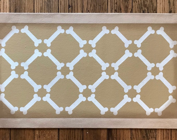 """Ready made! Dog Dish Mat Pet Placemat Small Floorcloth - 13"""" x 23"""" - by Black Horse Floorcloths - Wilmington Tan and Ivory White"""