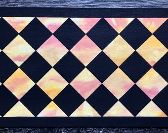 """Ready Made! - X-Small Dog/Cat Canvas Pet Placemat - Food Dish Mat - Floorcloth - 9"""" x 16 1/2"""" - or Table Top"""