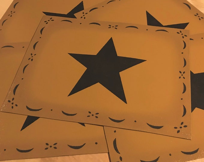 """10 1/2"""" x 14"""" - Small Painted Colonial Canvas Placemat Table Mat - Black Star on Graham Cracker Tan - by Black Horse Floorcloths"""