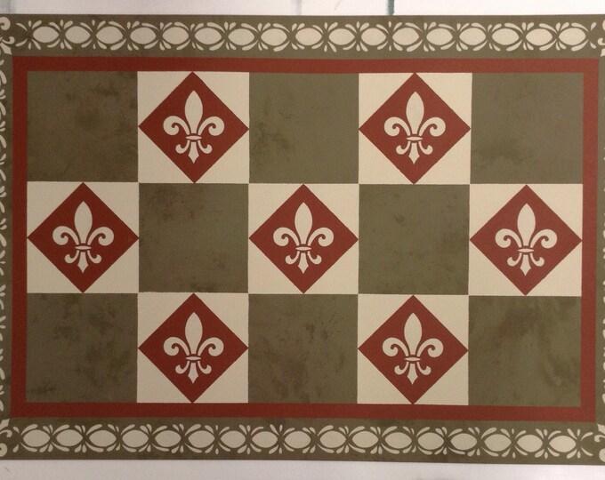 Custom Canvas Floorcloth - Fleur-de-lis Checks and Diamonds - Colonial - Mottled Olive Drab Green, Tea red, Light Beige - Area Rug