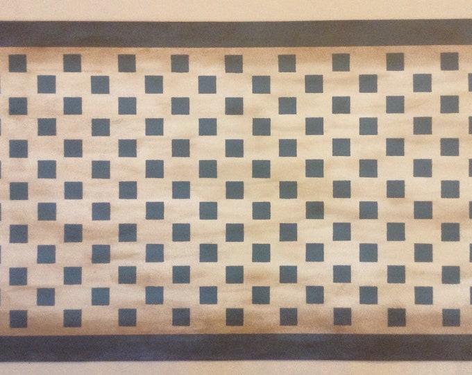 Custom Canvas Floorcloth - Weathered Checks - Whipple Blue on White - Floor Cloth Area Rug Primitive Country