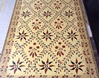 Custom Canvas Floorcloth - Wayside Inn Design on Maize Yellow - by Black Horse Studio/Jodi Myers - choose your size