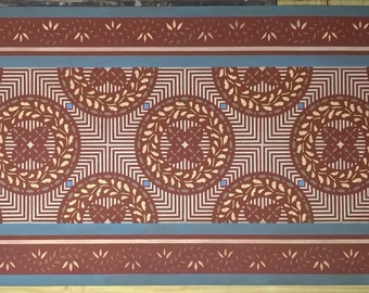 """Ready Made! 30 1/2"""" x 65"""" Colonial Canvas Floorcloth - Area Rug/Runner - by Black Horse Studio - tea red, soft yellow, green blue, white"""