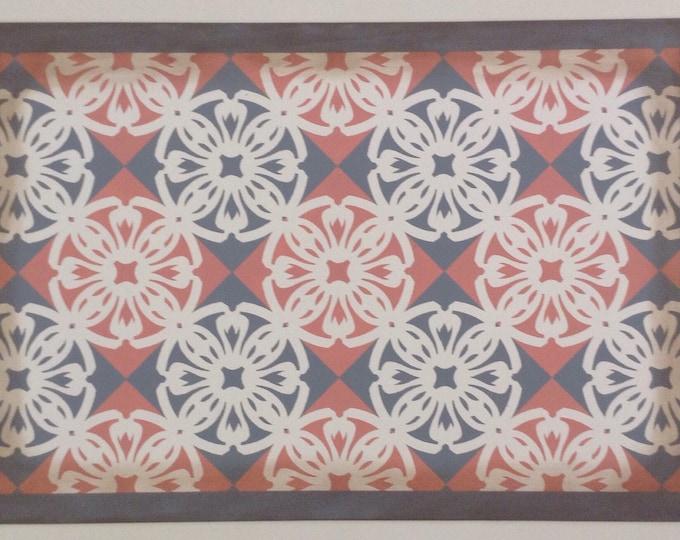 Custom Canvas Floorcloth - Victorian Tile - Salmon pink, Cream white, Gray - Area Rug