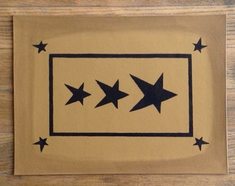 """In Stock, Ready to Ship!  10 1/2 x 14"""" - Small Painted Canvas Placemat Table Mat - Black Stars on Graham Cracker Tan"""
