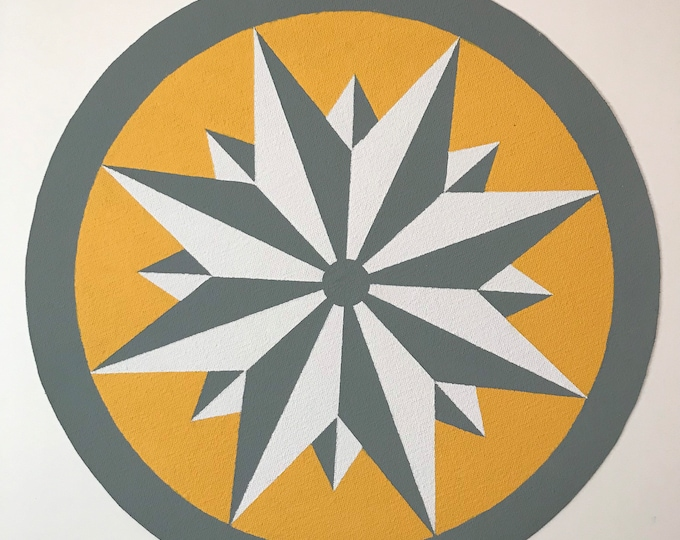 """13"""" Round Painted Canvas Placemats, Hex Sign/Colonial Mariner's Compass, Design 21A Signed/Numbered Limited Edition - Yellow, Gray, White"""