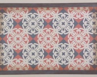 Ready Made 2' x 3' Canvas Floorcloth - Victorian Tile - Salmon pink, Puritan Gray, Cream - Area Rug