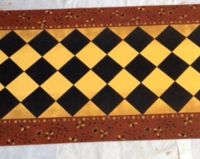 Custom Canvas Floorcloth Area Rug/Runner - Colonial Eaton Diamond Design Black, Yellow and Tea Red - Choose your size!