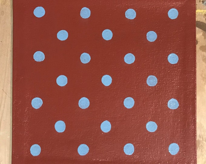 """Painted Canvas Trivet - 8"""" x 8"""" - Light Blue Polka Dots on Barn Red - by Black Horse Floorcloths"""