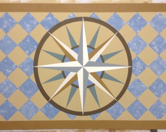 """Ready Made 30"""" x 43 1/2"""" Colonial Canvas Floorcloth - Mariner's Compass on Marbled Light Blue Diamonds - by Black Horse Studio"""