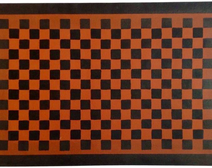 Custom Canvas Floorcloth - Black Checkerboard  Design on Tea Red - Floor Cloth Area Rug - by Black Horse Studio/Jodi Myers