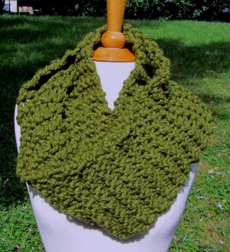 Plush Infinity Scarf Cowl in Olive Green image 0