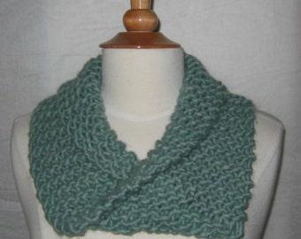 Soft Jade Green Wool Blend Cowl Scarf Neck Warmer
