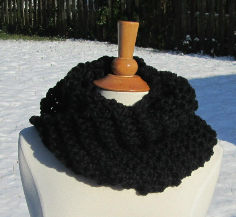 Cozy and Plush Black Cowl Scarf Neck Warmer image 0