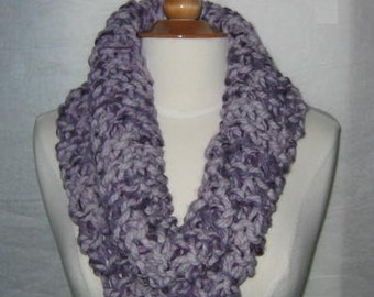 Thick and Plush Lavender and Plum Cowl Scarf Neck Warmer