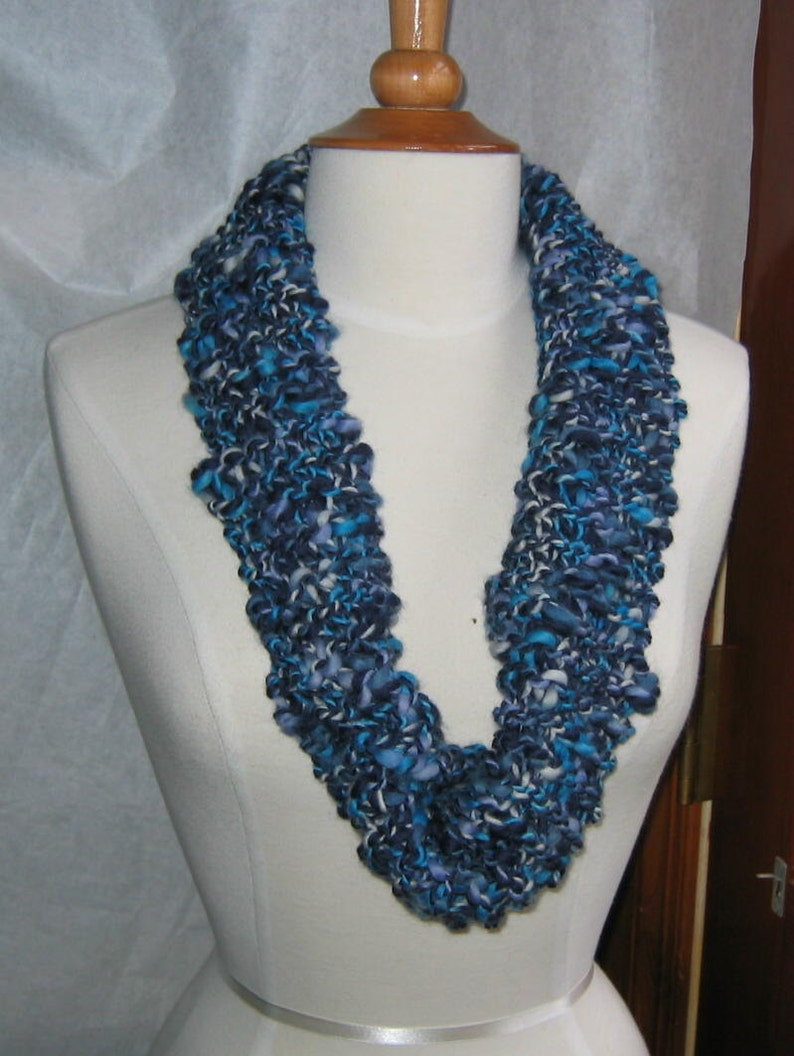 Favorite Blues Neck Warmer Cowl Navy and Turquoise image 0