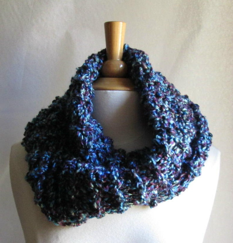 Mottled Stormy Skies Blues and Purples Infinity Cowl Scarf image 0