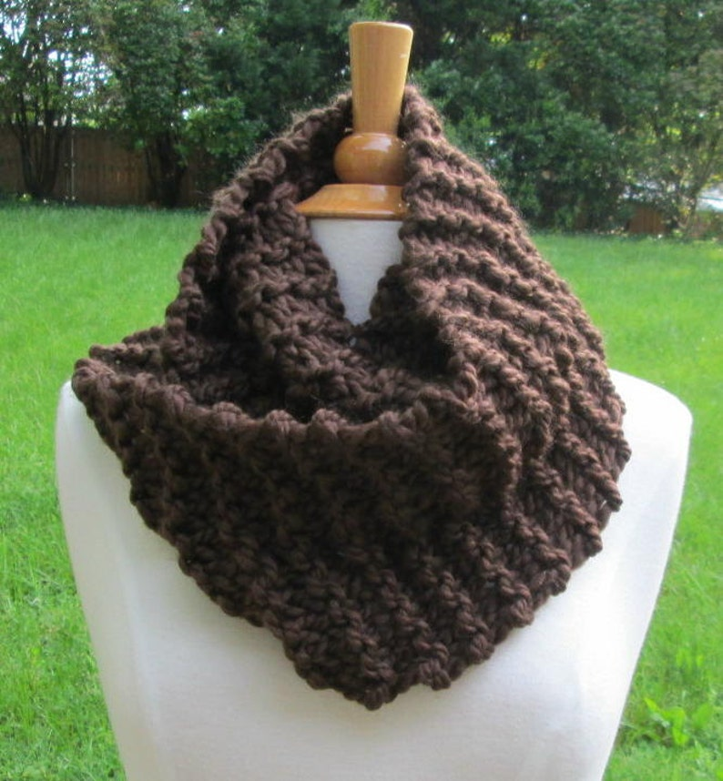 Plush Infinity Scarf Cowl in Espresso Brown image 0