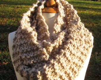 Plush Infinity Scarf Cowl in Pale Mocha