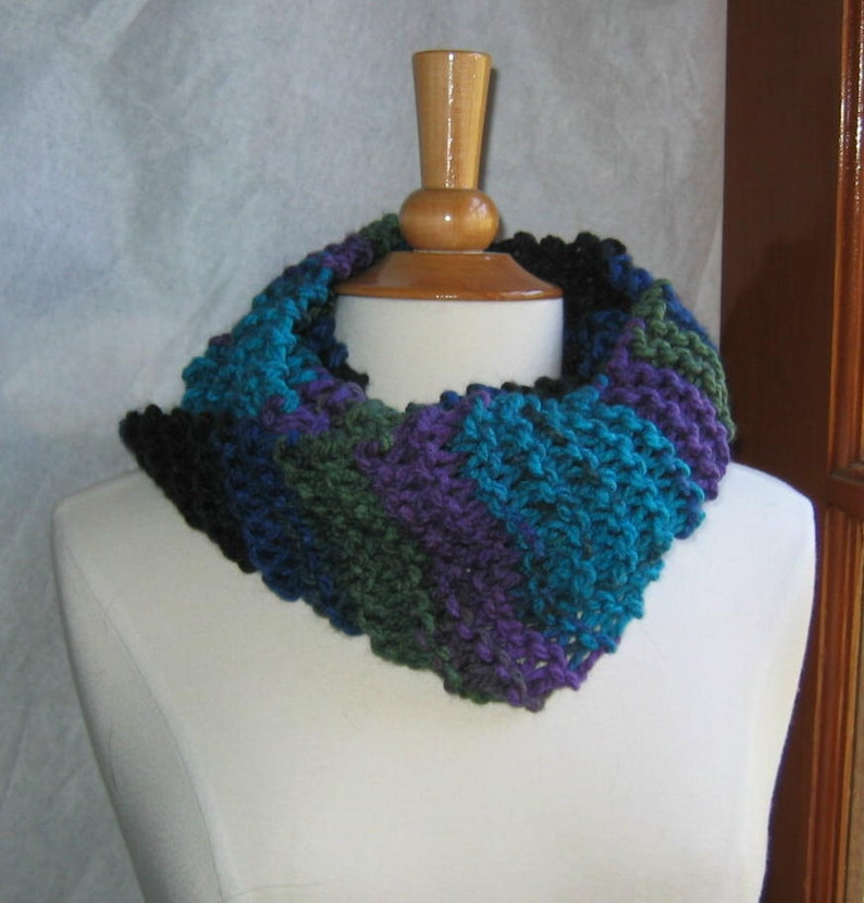 Turquoise Purple and Black Striped Infinity Cowl Scarf Neck image 0