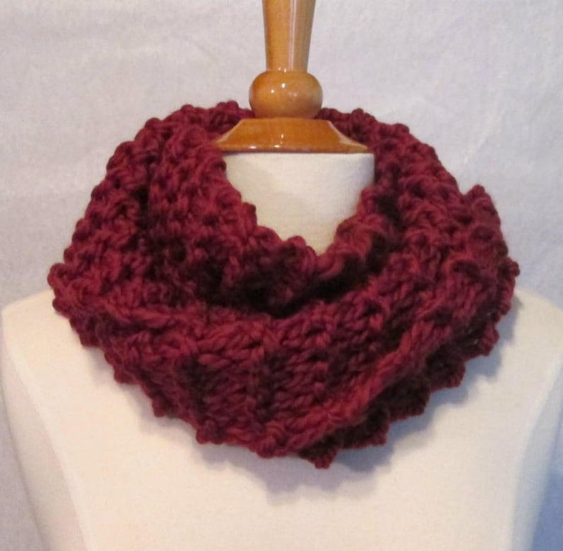 Plush Infinity Scarf Cowl in Warm Burgundy image 0