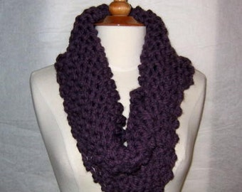 Thick and Plush Dusky Purple Cowl Scarf Neck Warmer Short