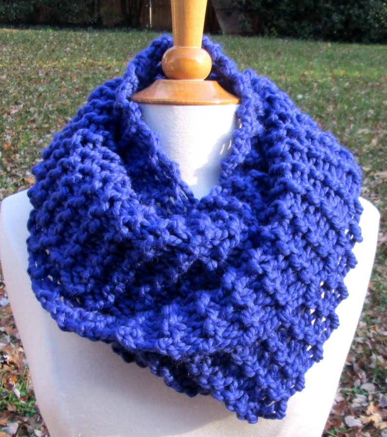 Plush Infinity Scarf Cowl in Bright Cobalt Blue image 0