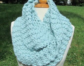 Plush Infinity Scarf Cowl in Sky  Blue