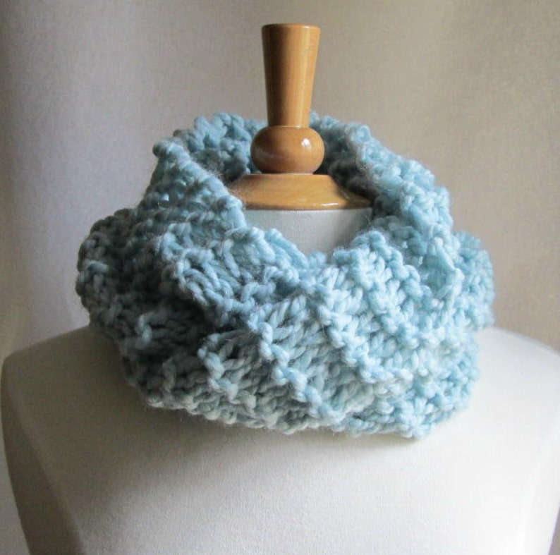 Soft and Plush Cloud Blue Cowl Scarf Neck Warmer image 0