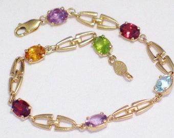 880fc0c4e68173 14k gold bracelet multi gemstone shackle bit tennis link chain oval  filigree 7 1/2 inch 5.5 mm wide Womens vintage fine jewelry