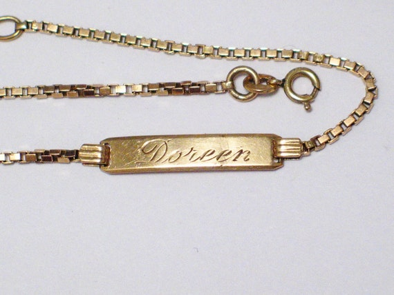 10k Gold Bracelet Dainty Vintage Id Name Doreen Box Link Chain Etsy