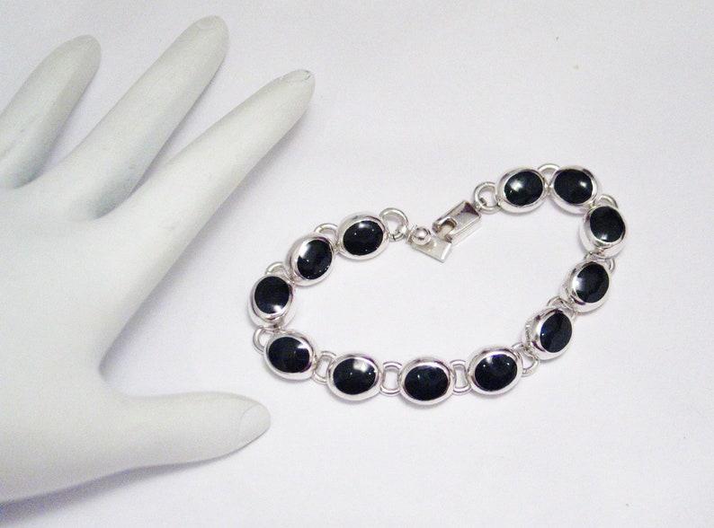 4d07f587ead3c4 Sterling Silver bracelet jet black oval tennis link chunky | Etsy