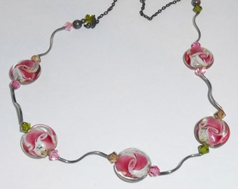 Pink Flower Design Lampwork Beads and Sterling  Silver Short Necklace