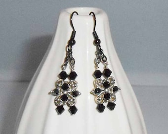 Black Crystals and Silver Metal Earring