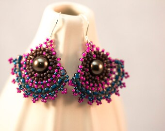 Colorful Pink, Teal and Brown Beaded Short Fan Earrings