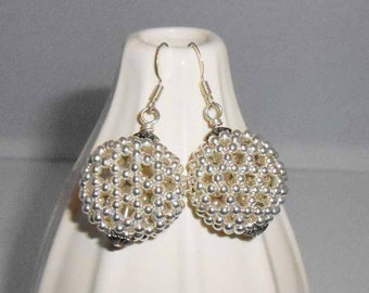Beaded Ball Silver Earrings