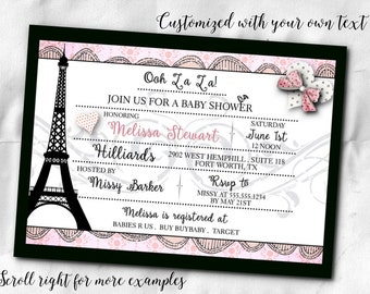 French Themed Party Invitations Invite With Envelope Bridal Shower Baby Birthday Eiffel Tower Pink And Black